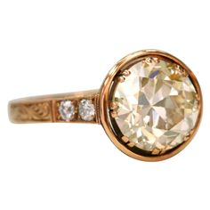 """Gorg! 2.50ct Brown/VS old European cut diamond set in an 18kt rose gold hand crafted """"Single Stone"""" mounting."""