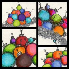 holiday ornament drawings...oil pastel and chalk...would be good for a one-day project close to xmas