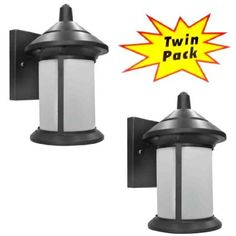 Hardware House 21-2119 Black Outdoor Patio / Porch Wall Mount Exterior Lighting / Lanterns / Fixtures with Frosted Glass - Twin Pack $44 for 2