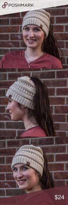 COMING SOON!!! Ponytail Beanies! Beige The Hottest accessory for fall!! Ponytail Beanies are the current craze! 100% Acrylic, Super Cute as gift or for self! Accessories Hats
