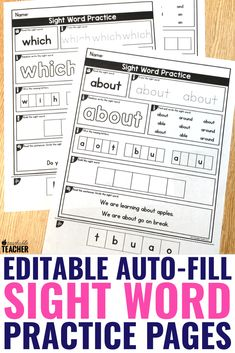 Editable Sight Word Worksheets A Teachable Teacher A Teachable Teacher Say goodbye to searching for the exact sight word worksheets … Teaching Child To Read, Teaching Sight Words, Sight Words List, Dolch Sight Words, Sight Word Practice, Teaching Reading, Sight Word Spelling, Guided Reading, Spelling Worksheets