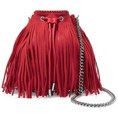 Stella McCartney Fringed faux suede bucket bag ($580) ❤ liked on Polyvore featuring bags, handbags, shoulder bags, red, fringe purse, drawstring purse, drawstring bucket bag, red bucket bag and red handbags