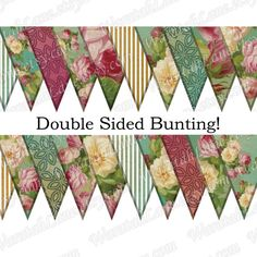 Printable Bunting Banner INSTANT DOWNLOAD Double Sided by WaratahLane Shabby roses with stripes and chic mosaic patterns. Prints as a diamond shape, folds over to make double sided bunting. Pink Lemon Yellow Lovely for a wedding or high tea.