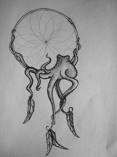 """dream catcher + Octopus // """"An octopus can lose an arm without harm and regrow it. By biting it off, the octopus loses the infected arm and hopefully a healthy one regrows, but in captive situations, probably caused by bad water quality, the infection can't be shaken off. The stressed, infected octopus dies with its arms in tatters"""":"""