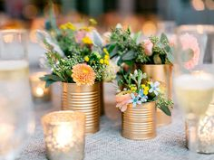 Diy wedding centerpieces 186125397080902208 - Cluster of gold painted tin cans make rustic vases Source by moncheribridals Tin Can Centerpieces, Rustic Wedding Centerpieces, Diy Wedding Decorations, Wedding Rustic, Rustic Vases, Centerpiece Flowers, Wedding Reception, Centerpiece Ideas, Reception Ideas