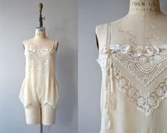 Odette lace and silk  step in | vintage 1920s lingerie | cream silk 20s nightie