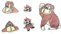Donkey Kong and Mario Art created by Shigeru Miyamoto Donkey Kong Country Tropical Freeze coming soon to Wii U Super Mario Kunst, Super Mario Art, Storyboard, Mad Movies, Shigeru Miyamoto, Donkey Kong Country, Video Game Industry, Super Mario Brothers, Pop Culture Art