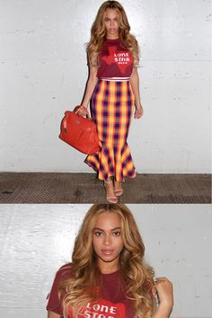 Once a Texan, always a Texan—and Bey shows off her hometown pride wearing a Lone Star State-emblazoned T-shirt tucked into a fit-and-flare plaid skirt.   - MarieClaire.com