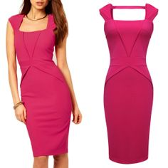 Concise Bare Back Bodycon Pencil Dress Features: Intro: Concise,Sleeveless,Square-Neck,Bodycon,Knee-Length,Bare back Color: Red, Black, White Material: Polyester,Spandex US SIZE: 4-12 WWW.APUREMALL.COM