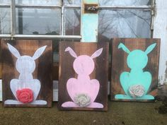 Easter decor bunny wall hangings easter by SplendorInTheRough