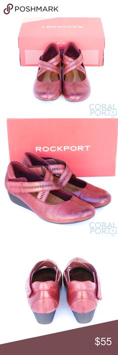 Rockport Cobb Hill Janet Flat, Wedge Pump Rockport Women's Cobb Hill Janet Wedge Pump Merlot Leather, 10 M US   Leather %100 Authentic     Rubber sole 35mm wedge Spot cemented foot bed for easy removal Pigskin sock liner provides for moisture absorption and abrasion resistance Eva foot bed conforms to the shape of the foot for a personalized fit Foam backed lining provides glove-like comfort Pls note:This item displayed at store, in nice condition as pictured, with tags and original box…