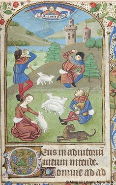Book of Hours, MS M.137 fol. 56r - France, Rouen, 1470-1480 - Shepherds: Annunciation