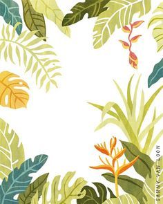 Tropical plants / leaves / flowers | illustration by Sanny van Loon | www.sannyvanloon.com