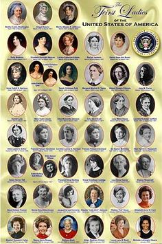 These are all of the First Ladies of America from Martha Washington to Michelle Obama. Make a matching game with their husbands, the Presidents.