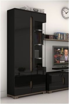 High Gloss Display Unit Glass Door Tall Cabinet Black Furniture Lounge LED Light #furniturefactor #Contemporary