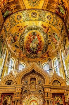 The magnificent ceiling of the Church of the Savior of the Spilled Blood, St. Petersburg, Russia.