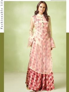 Cream and Red Gown With Organza Kurta Designer Gowns, Designer Wear, Satin Color, Pink Color, Western Gown, Printed Gowns, Party Wear Lehenga, Red Gowns, Floor Length Gown