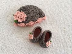 Newborn To Three Month Beanie and Slippers  by CrochetByClaudia, $35.00