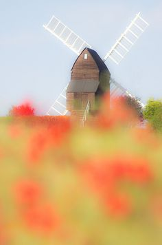 summer and the windmill in Ilkeston, Derbyshire, England, UK