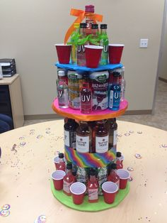 Mini liquor bottle cake