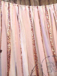 Rose Quartz Garland Rose Gold Wedding Backdrop 7 by ChangesByNeci Vintage Wedding Backdrop, Vintage Wedding Cake Table, Vintage Wedding Flowers, Vintage Wedding Invitations, Gold Wedding, Ribbon Backdrop, Sequin Backdrop, Rose Gold Pantone, Order Of Wedding Ceremony