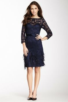 Theia 3/4 Sleeve Feather Bottom Lace Silk Combo Dress by Theia