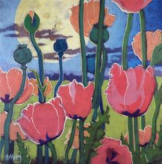 "Daily Paintworks - ""Poppies Under the Moon Moorcro..."" by Alida Akers  Mixed media.  8x8."