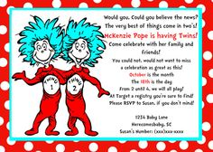 Printable Dr. Seuss Thing One Thing Two by SouthernBellesInvite, $9.99