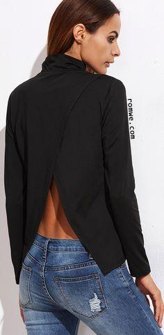 Black Cowl Neck Split Back T-shirt