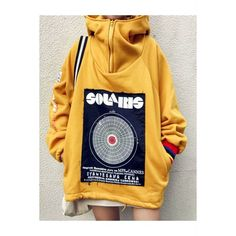 Oversized Patch Yellow Hoodie ($44) ❤ liked on Polyvore featuring tops, hoodies, long sleeve hoodie, long sleeve hoodie shirt, oversized shirts, long-sleeve shirt and shirt hoodies