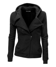 Black Fleece Jacket Size 8 Ladies Womens Hooded With Zip Front Moto Design Moto Jacket, Leather Jacket, High Collar, Jackets For Women, Hoodies, Lady, How To Wear, Shopping, Jacket Style