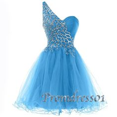 2015 cute blue one shoulder sparkly short prom dress with sequins, ball gown, homecoming dress #promdress #coniefox
