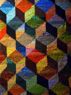 Tumbling blocks intarsia knitting design - the incomparable Kaffe Fassett at the Fashion and Textiles Museum by the South Bank, London