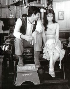 Anthony Perkins and Audrey Hepburn on the set of Green Mansions in 1959