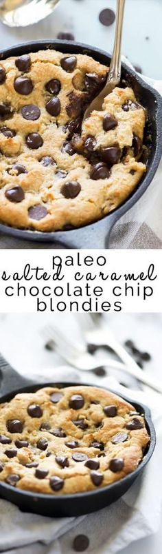 (Paleo) Deep Dish Salted Caramel Chocolate Chip Blondies Deep Dish Salted Caramel Chocolate Chip Blondies is a secretly healthy, indulgent dessert! Made with wholesome ingredients and refined sugar free, no one will have troubles asking for seconds! Paleo Dessert, Low Carb Dessert, Healthy Desserts, Delicious Desserts, Healthy Recipes, Flourless Dessert Recipes, Free Recipes, Blueberry Desserts, Brownie Desserts