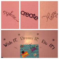 My first time making my own stencils in my daughters room.