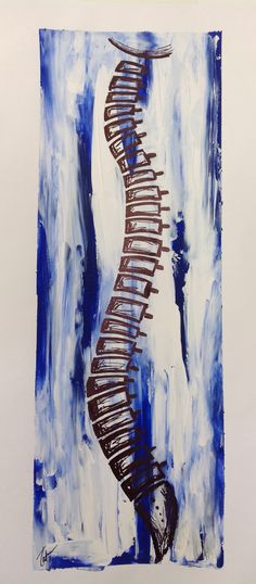 Lateral spine, acrylic on canvas, blue, white, chiropractic, abstract