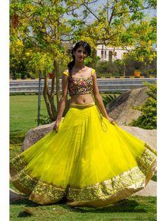 Yellow Color Net Lehenga - Rs. 3999.00