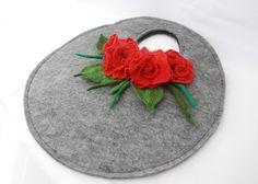 Felt bag, purse-felted flower, gray, grey ,Red Poppy , gift ,felt art. £34.99, via Etsy.