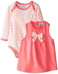 BON BEBE BabyGirls Infant Hearts and Bow Bodysuit with French Terry Jumper Set Multi 12 Months *** Click image for more details. (This is an affiliate link) #BabyGirlDresses