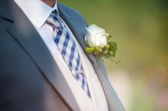 Groom with Blue Checked Tie
