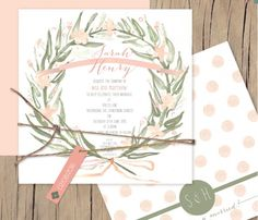 New design, watercolour wreath. Such a sweet, folky little wedding invitation. The hand painted florals and watercolour splashes add the perfect rustic edge to this soft and delicate design. Perfect for a romantic wedding with the pastel hues and cute feel really having so much personality as a unique Lilykiss hand painted wedding invitation. Part of Lilykiss' flat card range means it is also at a really affordable price