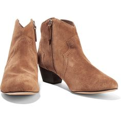 Schutz - Abiha Suede Ankle Boots (355 ILS) ❤ liked on Polyvore featuring shoes, boots, ankle booties, stiletto boots, stiletto ankle boots, zip ankle boots, stiletto bootie and stacked heel booties