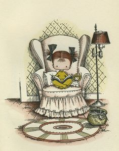 Time for a bedtime story! illustration by famed artist Joan Walsh Anglund Reading Art, Girl Reading, I Love Reading, Reading Books, I Love Books, Good Books, My Books, Joan Walsh, Children's Book Illustration