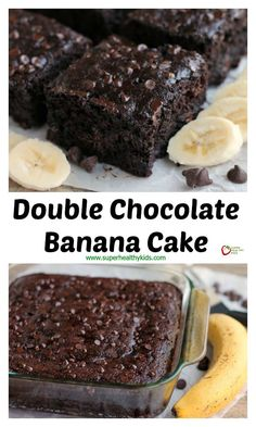 Food and Drink Dessert! Double Chocolate Banana Cake - This lightened up chocolate cake has no oil, uses bananas and applesauce to keep it moist, and has just the right amount of chocolate to make it feel like an indulgent treat. No frosting required!  http://www.superhealthykids.com/double-chocolate-banana-cake/