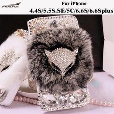 Leather Flip case Fox Head  Rabbit Fur Protective Furry Diamond Crystal Cover Bag For iPhone 4/S4/5/5S/5C/SE/6/6S/6.6S plus