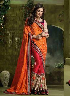 Orange Pink Chinnon Chiffon Jacquard Self Jari Butti Satin Georgette Wedding Sarees