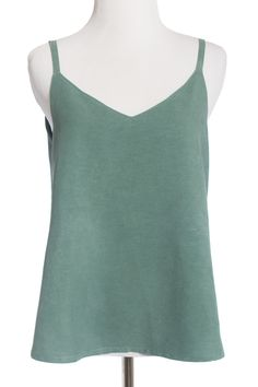 The Ogden Cami sewing pattern by True Bias is a partially-lined camisole tank top with a V-neck.