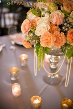 peach+drift+rose+centerpiece | Pearls dripped from the centerpieces and the floral covered ...