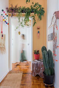 Hall de entrada com parede colorida, prateleira com plantas e vaso de cacto